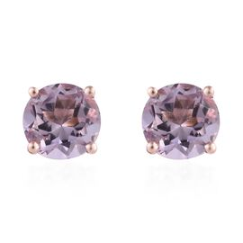 Rose De France Amethyst (Rnd) Stud Earrings (with Push Back) in Rose Gold Overlay Sterling Silver 2.