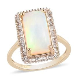 9K Yellow Gold Ethiopian Welo Opal and White Diamond Halo Ring 2.80 Ct.
