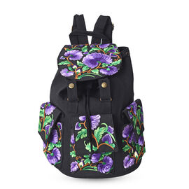 Embroidered Floral Pattern Backpack with Drawstring Closure and Adjustable Shoulder Strap (Size 25x3