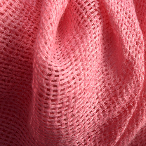 New Season Living Coral Colour Linen Handloom Woven Scarf (Size 180x70 Cm)