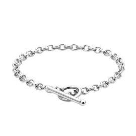 9K White Gold T-Bar Oval Belcher Bracelet (Size 7.25)