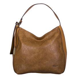 Bulaggi Collection - Heather Hobo Shoulder Bag with Zipper Closure (Size 32x34x14cm) - Cognac