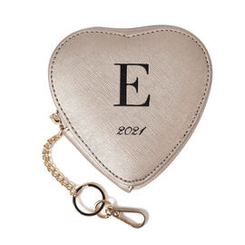 100% Genuine Leather E Initial Heart Shape Coin Card / Purse with Key Chain in Gold Colour (Size 12x