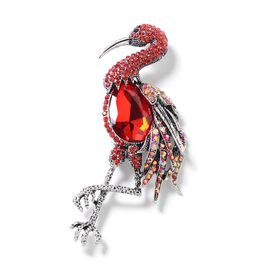 Simulated Red Garnet (Pear 28x20 mm), Multi Colour Austrian Crystal Crane Bird Brooch in Silver Tone