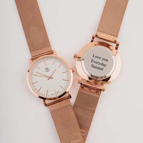 Personalise Engravable STRADA Japanese Movement Watch with Rose Tone and Rose mesh Strap