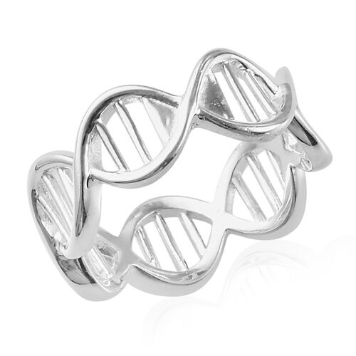 Double Helix DNA Band Ring in Sterling Silver