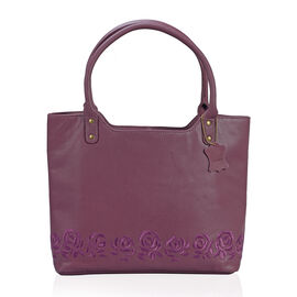 Premium Super Soft 100% Genuine Leather Burgundy Large Tote Handbag with RFID Blocker and Embroidery