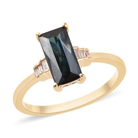 14K Yellow Gold AAA Monte Belo Indicolite (Bgt), Diamond Ring 1.790 Ct.