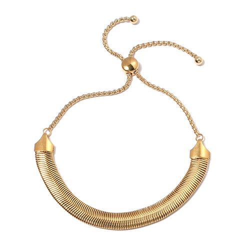 Yellow Gold Plated Stainless Steel Adjustable Necklace (Size 16 to 30) and  Bracelet (Size 6.50 to 10.50).