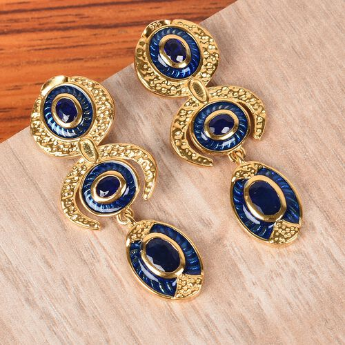 Tanzanian Blue Spinel Enamelled Dangle Earrings (with Push Back) in 14K Gold Overlay Sterling Silver 1.75 Ct, Silver wt. 6.00 Gms
