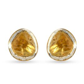 Yellow Polki Diamond Stud Earrings (with Push Back) in 14K Yellow Gold Overlay Sterling Silver 0.50