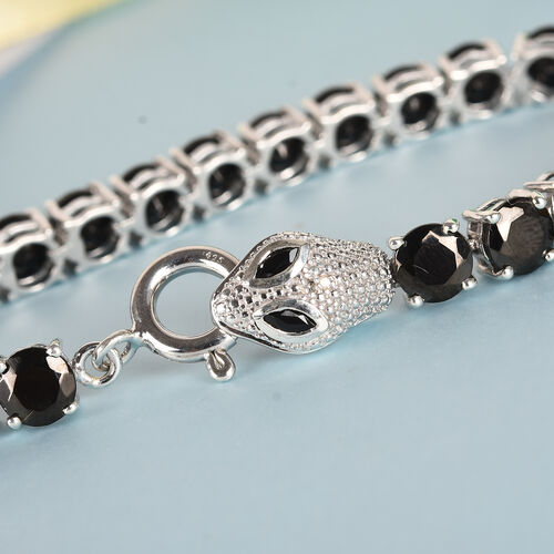 Elite Shungite, Diamond and Boi Ploi Black Spinel Snake Tennis Bracelet (Size 7.5) in Platinum Overlay Sterling Silver 13.00 Ct, Silver wt 12.50 Gms