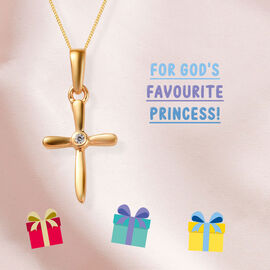 Cross Pendant for Kids with Zircon in Gold Plated Silver