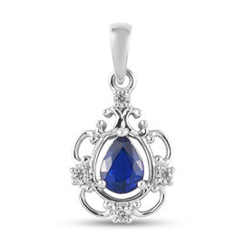 Tanzanian Blue Spinel and Natural Cambodian Zircon Pendant in Platinum Overlay Sterling Silver 1.23