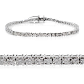 14K White Gold EGL Certified Diamond (Rnd) (I1-I2/G-H) Tennis Bracelet (Size 7.25) 2.07 Ct, Gold wt