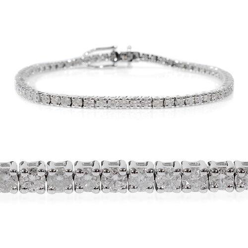 14K White Gold EGL Certified Diamond (Rnd) (I1-I2/G-H) Tennis Bracelet (Size 7.25) 2.07 Ct, Gold wt