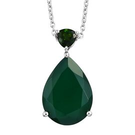 Rare Size Verde Onyx (Pear 18x13 mm), Russian Diopside Pendant with Chain in Platinum Overlay Sterling Silver 9.000 Ct.