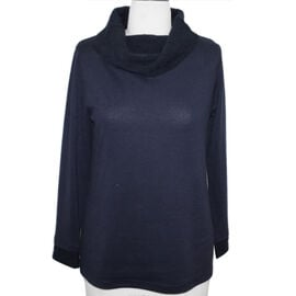 SUGAR CRISP Cowl Neck Jumper (Size L) - Navy