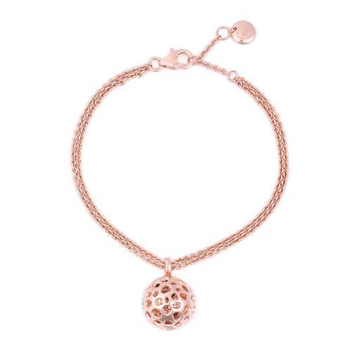 RACHEL GALLEY Rhodolite Garnet (Hrt) Bracelet (Size 7- 8) with Lattice Disc Charm in Rose Gold Overl
