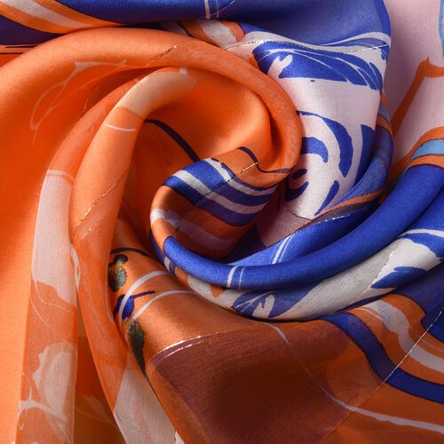LA MAREY 100% Mulberry Silk Multi Colour and Orange Abstract  Print Scarf in a Gift Box (165x50cm)