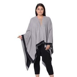 Reversible Black and Grey Loose Fitting Kimono (L-80 Cm)
