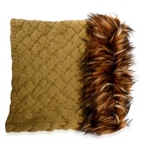 Khaki Colour Neck Scarf with Faux Fur Collar (Free Size)