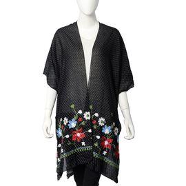 Floral Embroidery Kimono with Dot Pattern (Size 90x90 Cm) - Black Colour