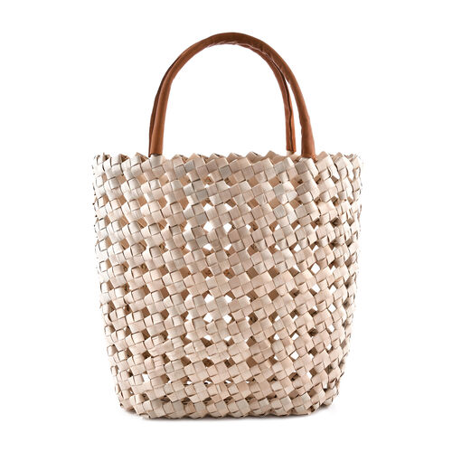 Palm Leaves and Leather Strap Handwoven Basket Bag (Size 33x15x33 Cm)
