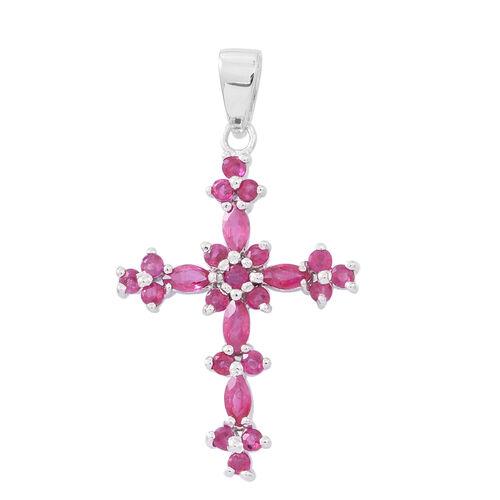 Burmese Ruby (Mrq) Cross Pendant in Rhodium Plated Sterling Silver 2.000 Ct.