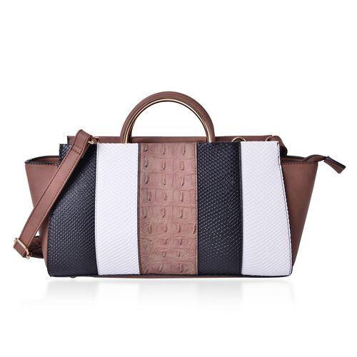 Camel, Black and White Colour Stripes Pattern Tote Bag with External Zipper Pocket and Adjustable and Removable Shoulder Strap (Size 32X19X12 Cm)