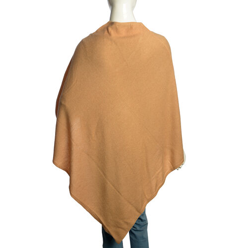 Limited Available - 100% Very Rare Pashmina Wool Designer Inspired Poncho in Beige Colour (Free Size)