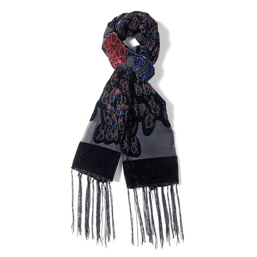 Designer Inspired- Black, Blue and Red Colour Peacock Pattern Scarf with Tassels (Size 160x50 Cm)