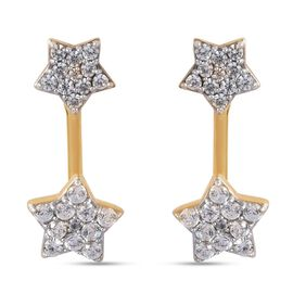 Sundays Child Natural Cambodian Zircon Detachable Star Earrings (with Push Back) in Yellow Gold Tone