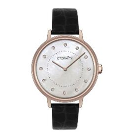Close Out Deal- ETERNITY Swarovski Studded Watch in Rose Gold Tone with Black Strap