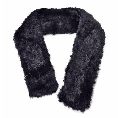 Black Colour Faux Fur Scarf (Size 88X10 Cm), Cap (Size 29X18 Cm) and Pom Pom Keychain (Size 10 Cm)
