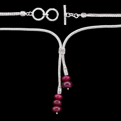 Royal Bali Collection - African Ruby Adjustable Lariat Necklace (Size 22) in Sterling Silver 32.50 Ct, Silver wt 24.50 Gms