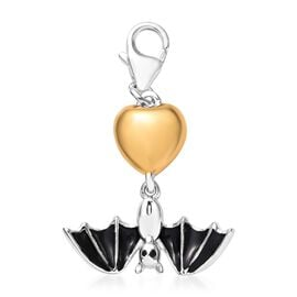 Platinum and Yellow Gold Overlay Sterling Silver Enamelled Flying Bat Charm