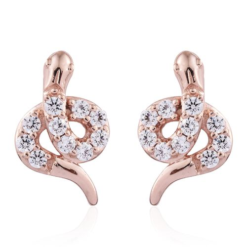 J Francis - Rose Overlay Sterling Silver (Rnd) Snake Earrings (with Push Back) Made with SWAROVSKI ZIRCONIA