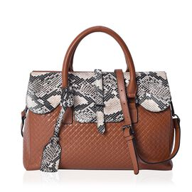 100% Genuine Leather Black and Beige Snake Skin Pattern Tote Bag(Size 36x10.5x25 Cm) with Detachable