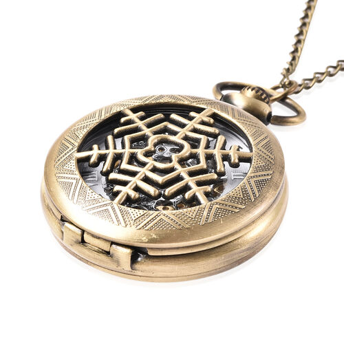GENOA Automatic Mechanical Hollow-Out Snowflake Pattern Pocket Watch with Chain in Antique Bronze Tone