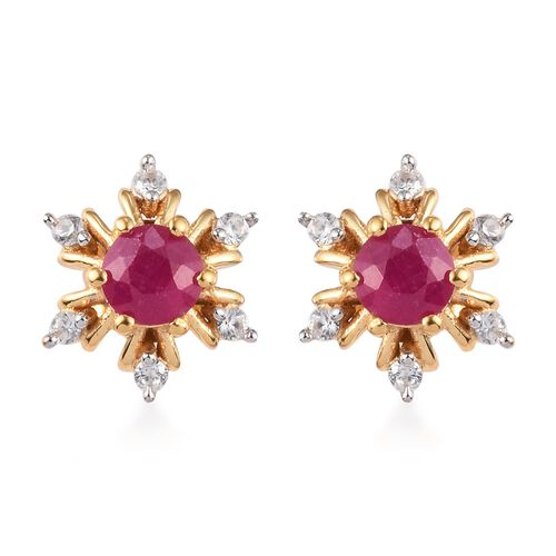 AA African Ruby and Natural Cambodian Zircon Snowflake Stud Earrings (with Push Back) in 14K Gold Ov