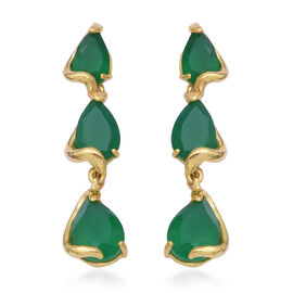 7.47 Ct Green Onyx Dangle Earrings with Push Back in Gold Plated Sterling Silver