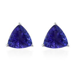 Limited Edition- RHAPSODY 950 Platinum AAAA Tanzanite (Trl) Stud Earrings (with Screw Back) 2.250 Ct.