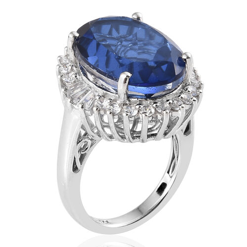 Preview Auction- Ceylon Colour Quartz (Ovl 14.00 Ct), Natural White Cambodian Zircon Ring in Platinum Overlay Sterling Silver 15.500 Ct, Silver wt 5.37 Gms