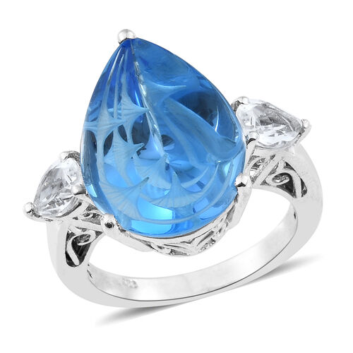 15.50 Ct Marambaia Topaz and White Topaz Classic Ring in Platinum Plated Silver 5.58 Grams