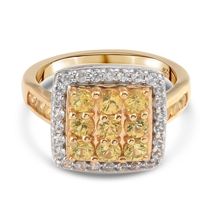 Yellow Sapphire and Natural Cambodian Zircon Cluster Ring in 14K Gold Overlay Sterling Silver 2.30 C
