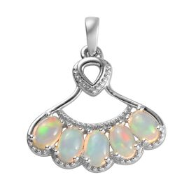 Ethiopian Welo Opal (Ovl) Pendant in Platinum Overlay Sterling Silver 1.50 Ct.