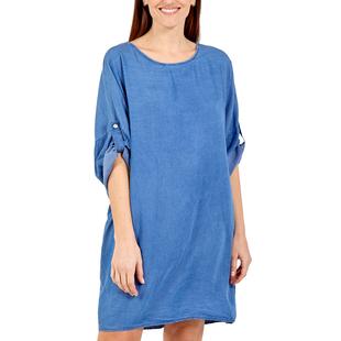 NOVA of London - Zip Back Dress in Mid Denim (Size up to 20)
