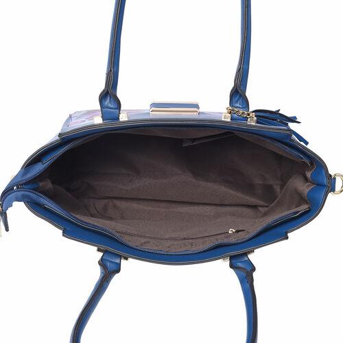 Floral Pattern Satchel Bag with Adjustable Shoulder Strap, Tassel and Magnetic Closure in Navy (32x26x15cm)