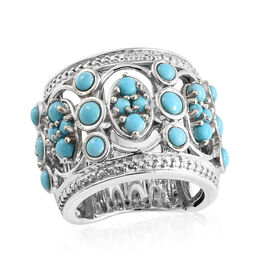 AA  Arizona Sleeping Beauty Turquoise (Rnd) Ring in Platinum Overlay Sterling Silver 2.000 Ct, Silver wt 11.46 Gms